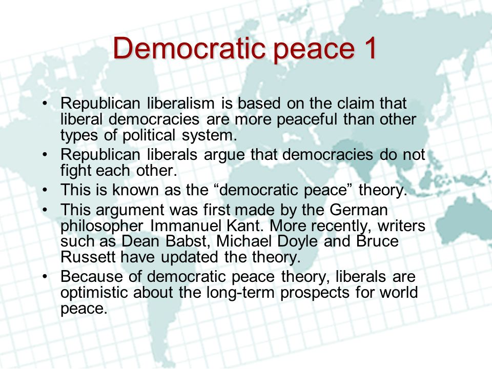 democratic peace theory dpt 2017-8-27  original article the 'knowledge politics' of democratic peace theory inderjeet parmar department of international politics, city university london, northampton square.