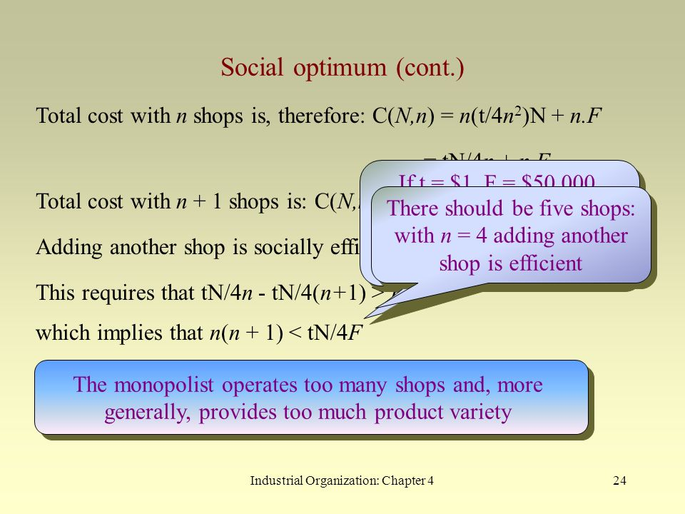 Total cost with n shops is, therefore: C