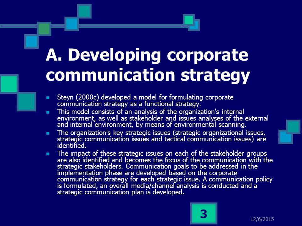 Developing Corporate Communication Strategy & Communication Plans ...