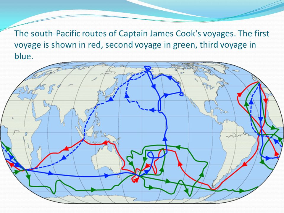 The south-Pacific routes of Captain James Cook s voyages