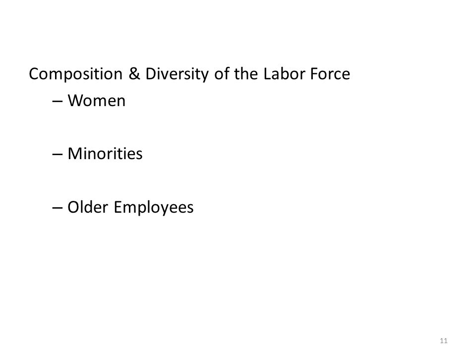 Composition & Diversity of the Labor Force
