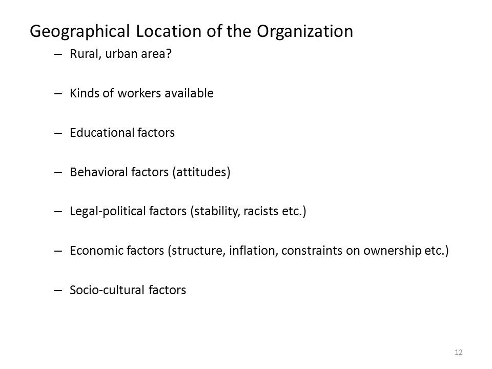 Geographical Location of the Organization