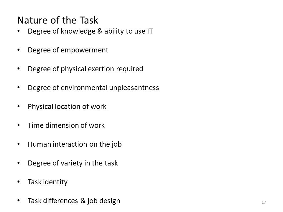 Nature of the Task Degree of knowledge & ability to use IT