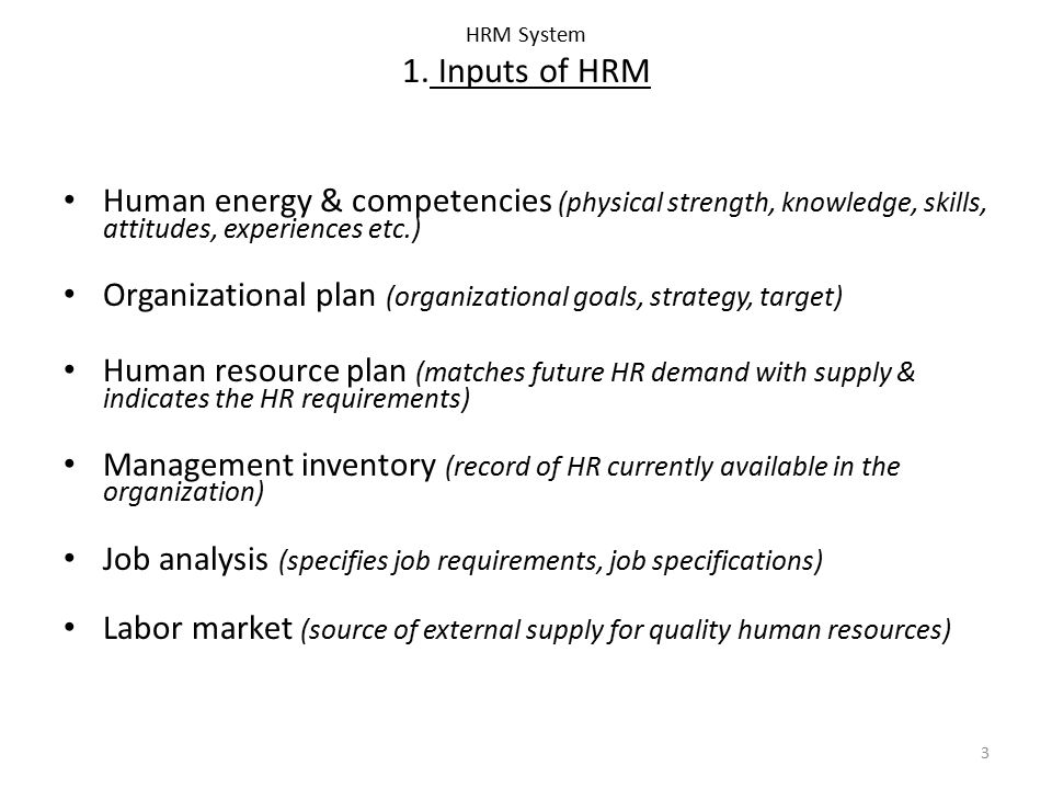 HRM System 1. Inputs of HRM