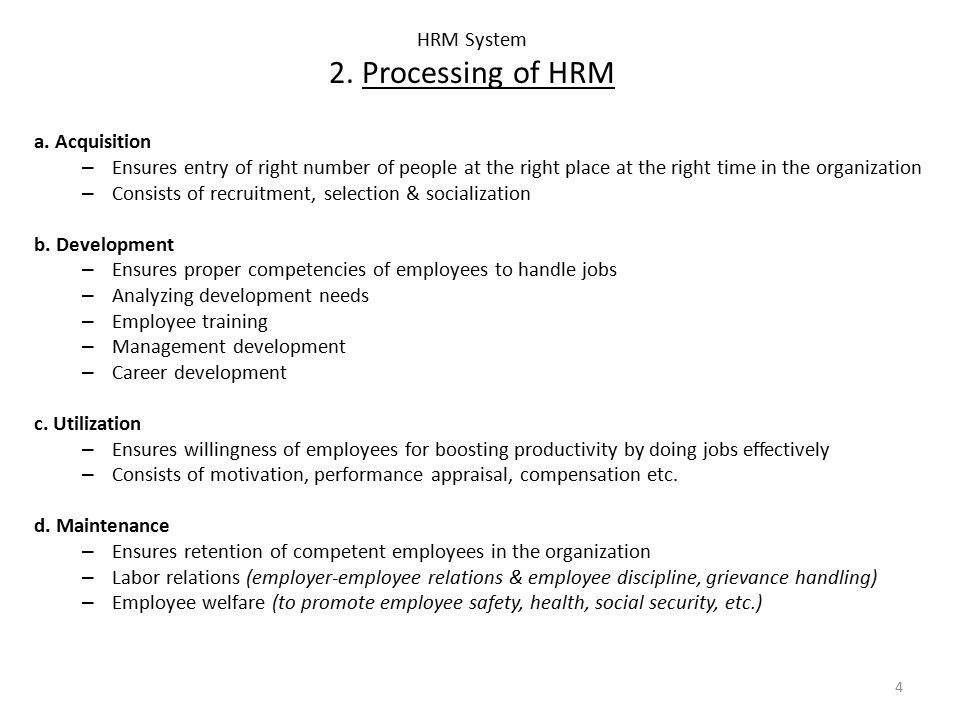 HRM System 2. Processing of HRM