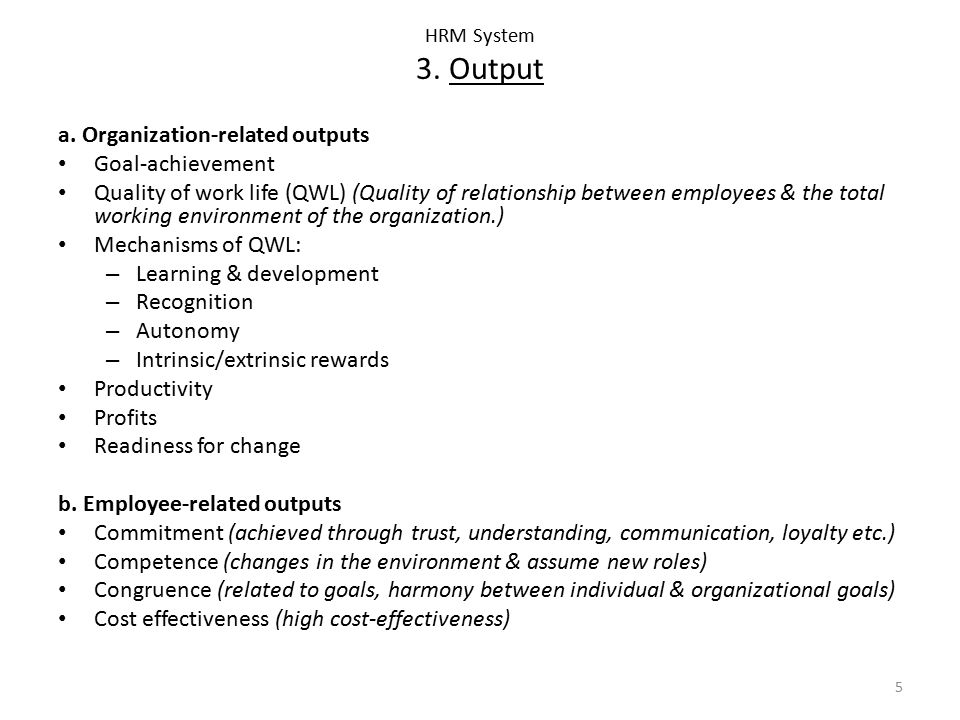 a. Organization-related outputs Goal-achievement