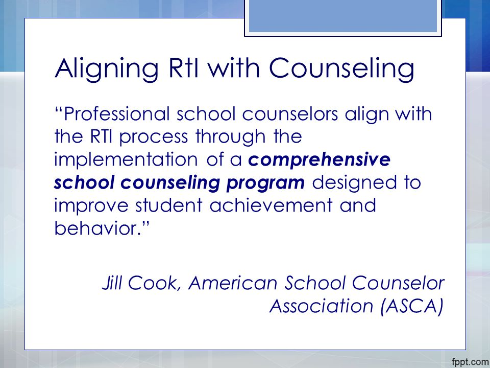 comprehensive school counseling program The asca national model: a framework for school counseling programs (2005)  is written to reflect a comprehensive approach to program foundation, delivery,.