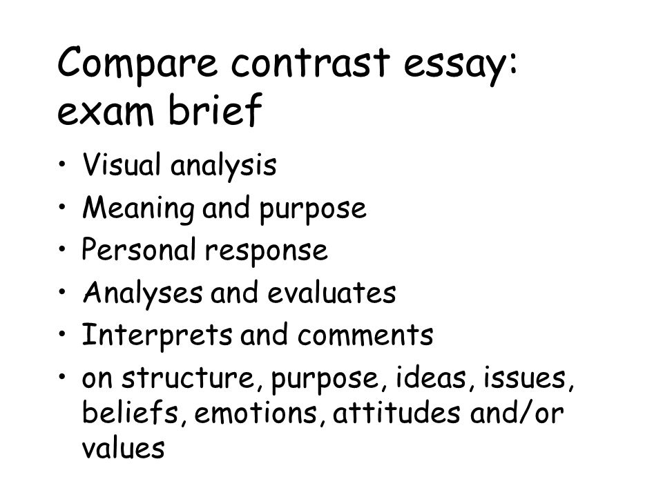 compare and contrast the response to Teach two different formats of compare and contrast essays, point-by-point or block, in order to sharpen critical thinking and writing skills.