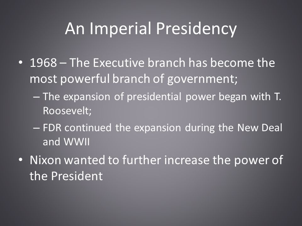 imperial presidency overview The imperial presidency historian arthur m schlesinger jr wrote the imperial presidency in 1973, a groundbreaking history of presidential power centering on an.