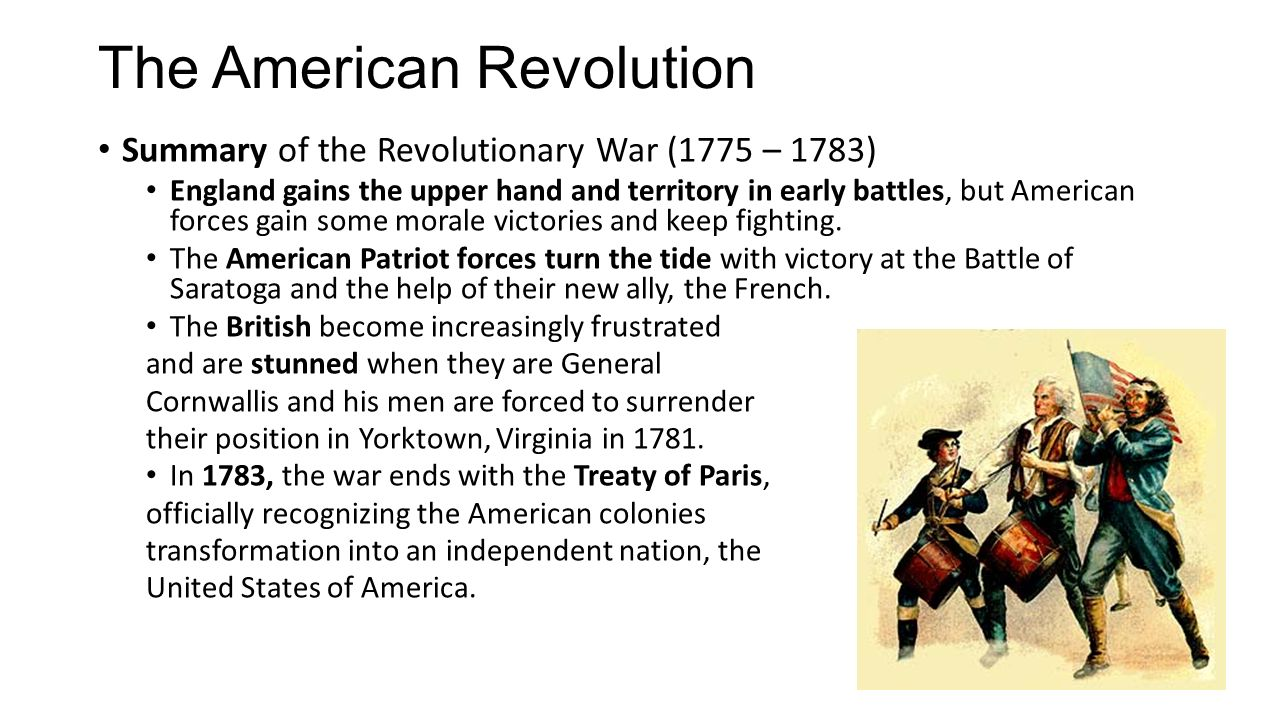 an analysis in the victory of the american revolution Transcript of top 10 reasons for american victory in the revolution #1 french  involvement without france's military power, the americans.