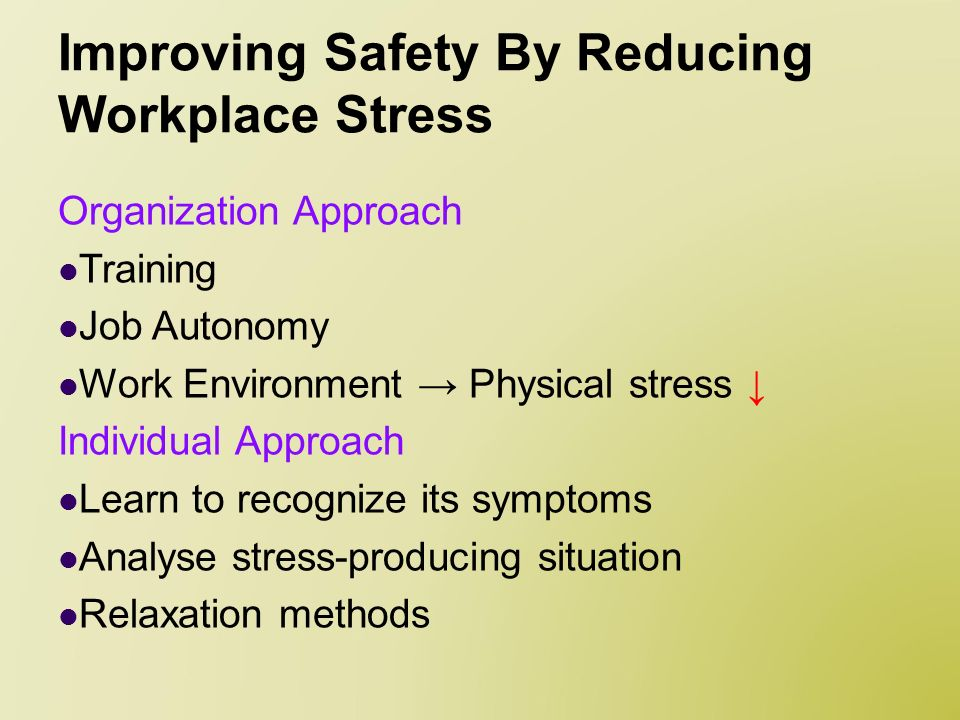 the effects of stress on the workplace environment But what do these working environments look like and how can  job stress puts  many of us at risk of developing a mental health issue and.