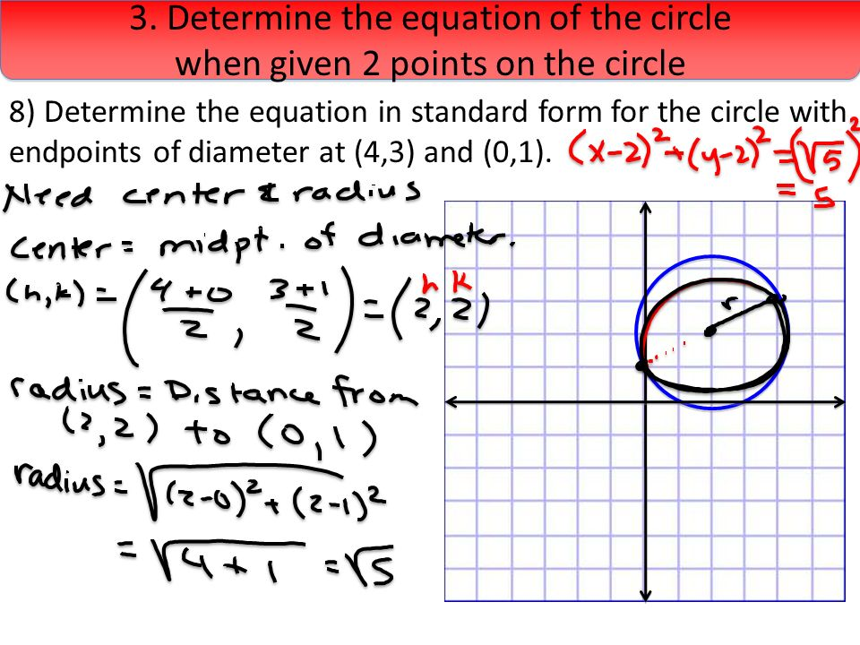how do you find the diameter with two given endpoints