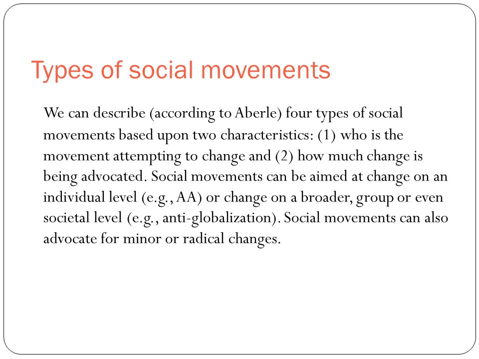 social change and social movements With all the freedom and change, utopia societies seemed to spring up around   here are some of the major social movements that started in the mid 1800s.