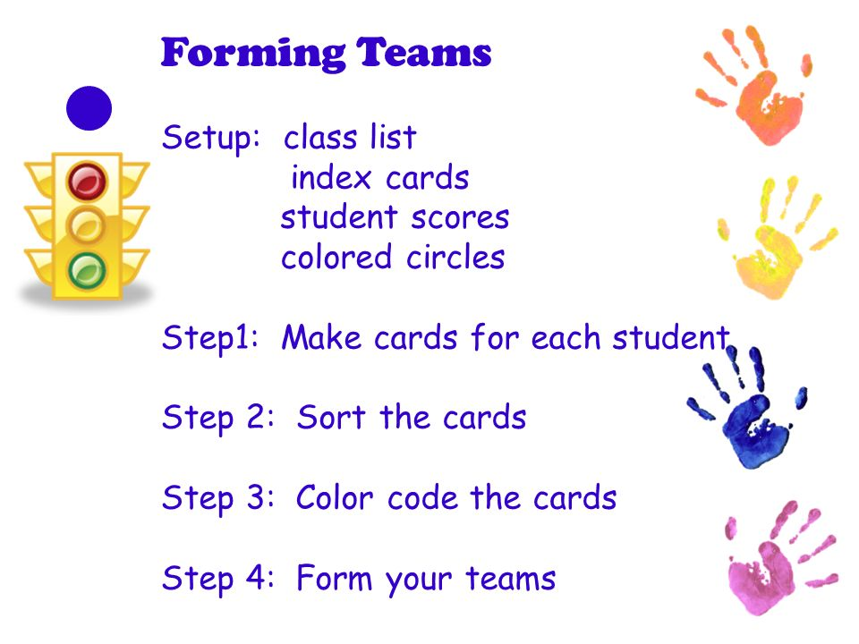 Forming Teams Setup: class list index cards student scores