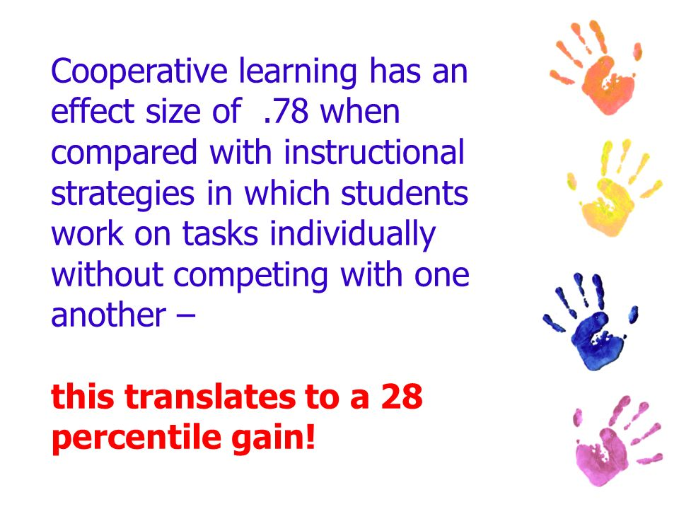 Cooperative learning has an effect size of