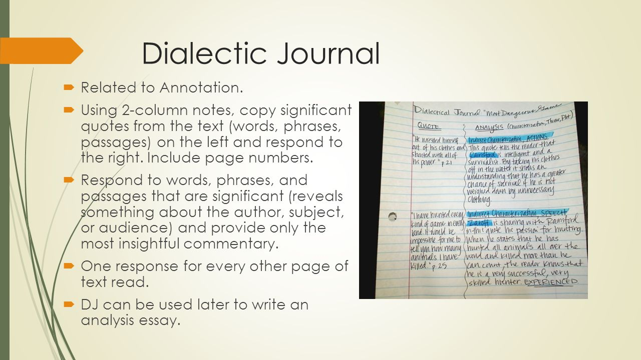 writing dialectical essay Emma harvey narrates as students karma and buckets discover the right--and rushed-- ways of completing one's ap language dialectical journal on time.