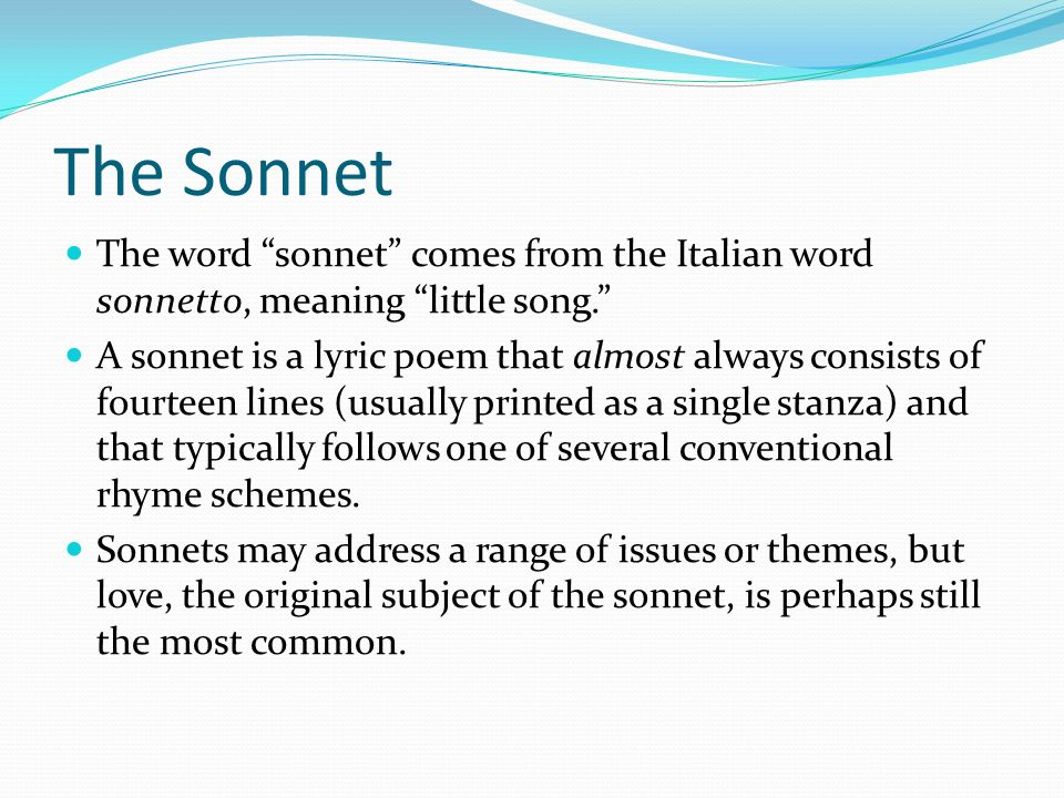 the origin of the sonnet History of poetry jump to  the introduction of writing fixed the content of a poem to the version that happened to be written down and survive written composition .