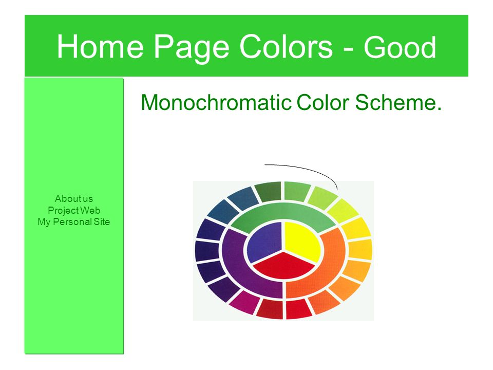 Home page colors good monochromatic color scheme about for Colors home page