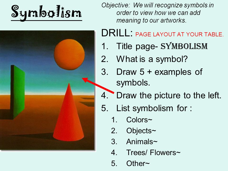 Symbolism Drill Page Layout At Your Table Title Page Symbolism