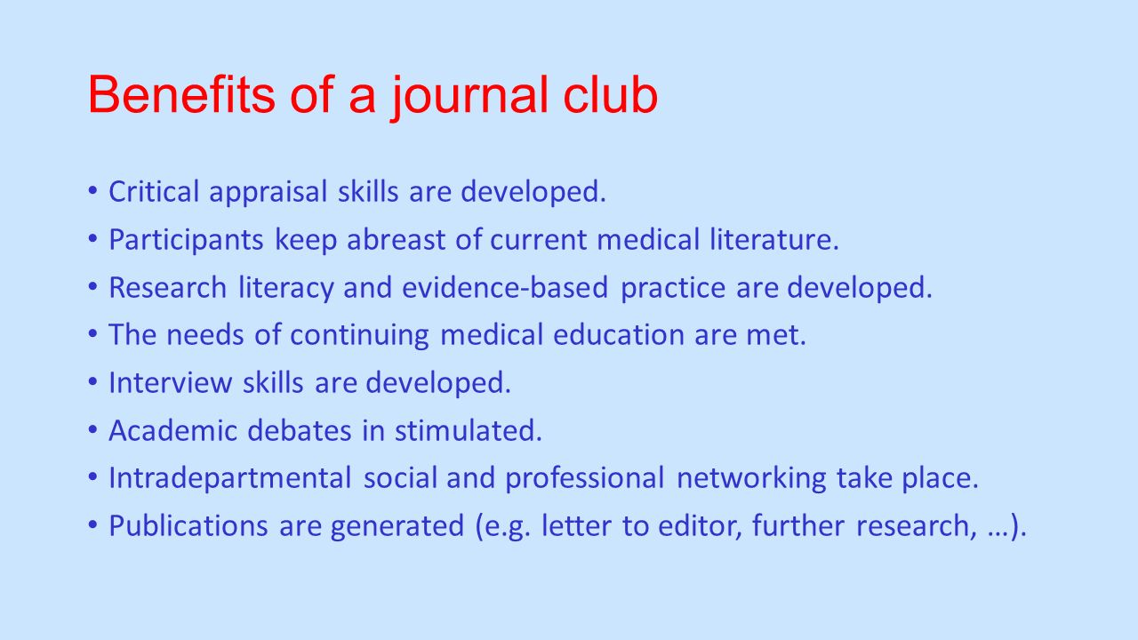 How to present an article in journal club ppt video online download benefits of a journal club pronofoot35fo Images