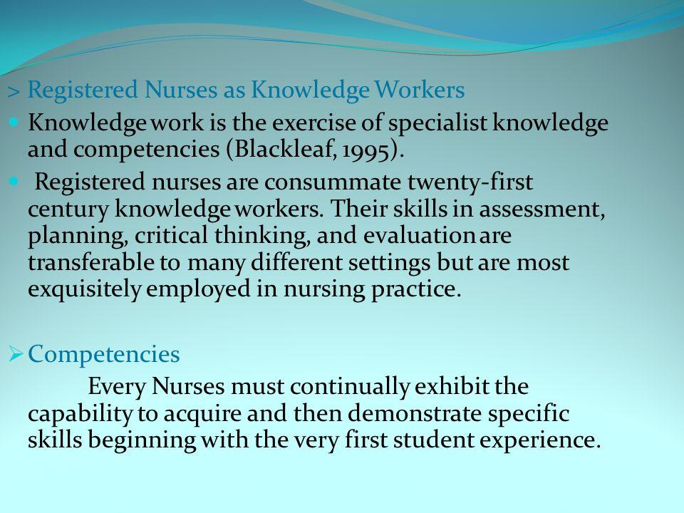 competencies for registered nurses Promoting continuing competence for registered requires nurses to reflect on their competencies in continuing competence for registered nurses in.