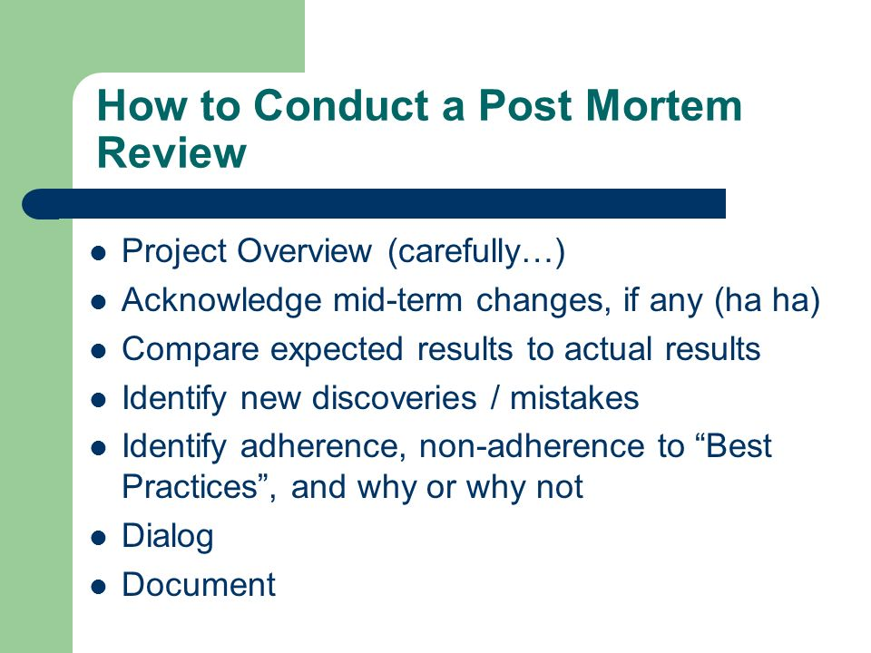 project post mortem template