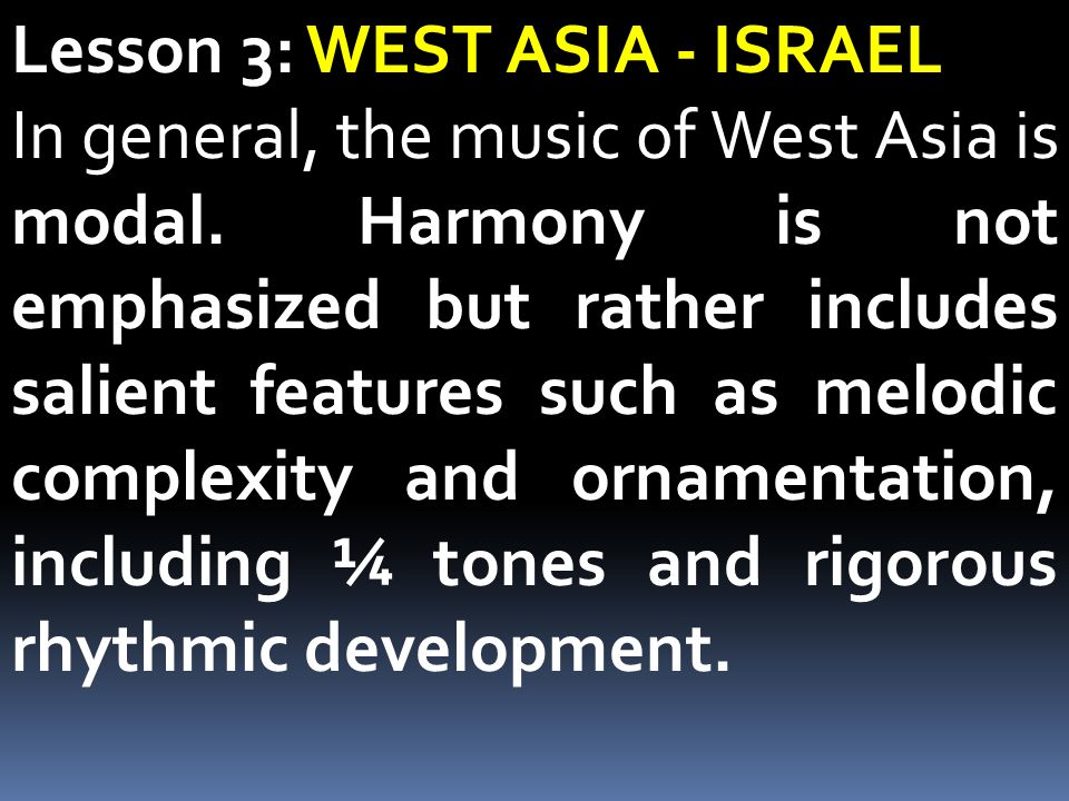 Lesson 3: WEST ASIA - ISRAEL
