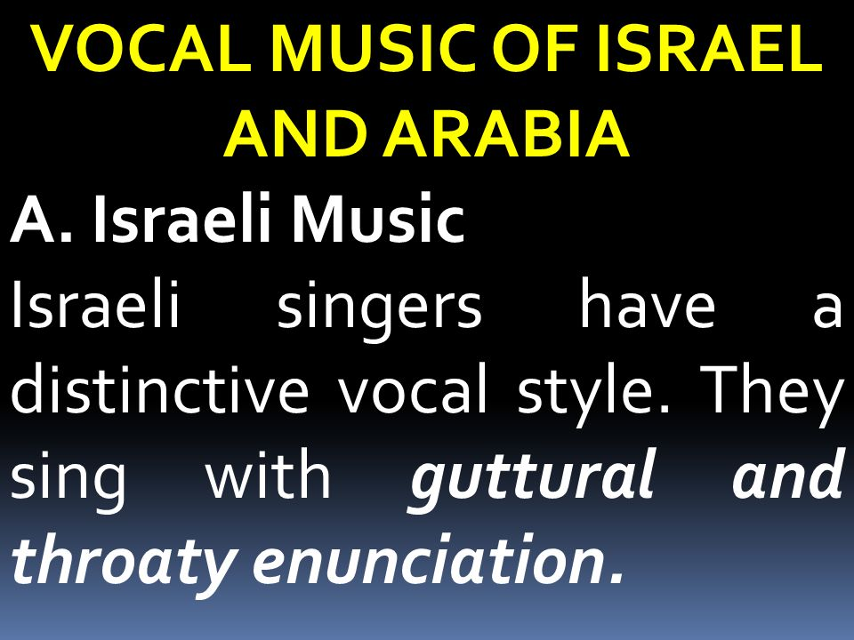 VOCAL MUSIC OF ISRAEL AND ARABIA