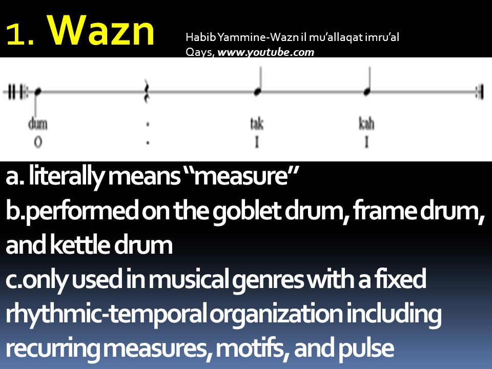 1. Wazn a. literally means measure