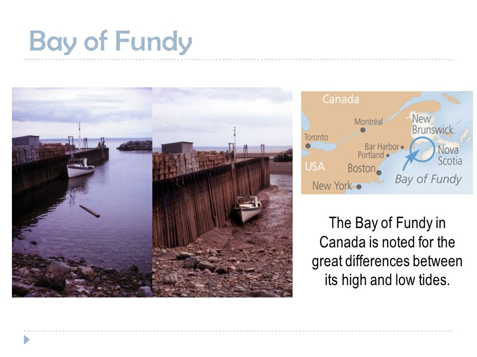 Bay of Fundy The Bay of Fundy in Canada is noted for the great differences between its high and low tides.