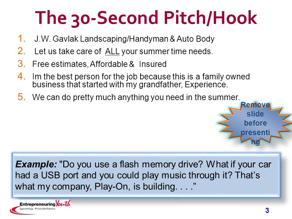 Entrepreneuring youth business plan introductory ppt for 30 second pitch template