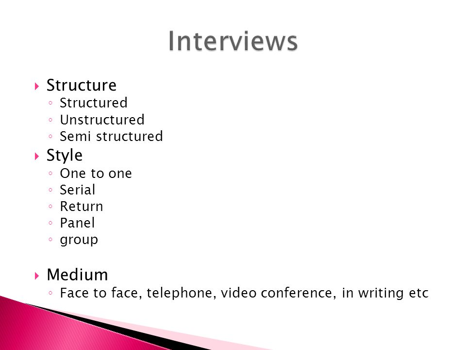 selection plan and structured interview essay Structured interview essay q) examine the reasons why some sociologists choose to use structured interviews when conducting their research a) a structured interview involves one person asking another person a list of questions about a carefully-selected topic.