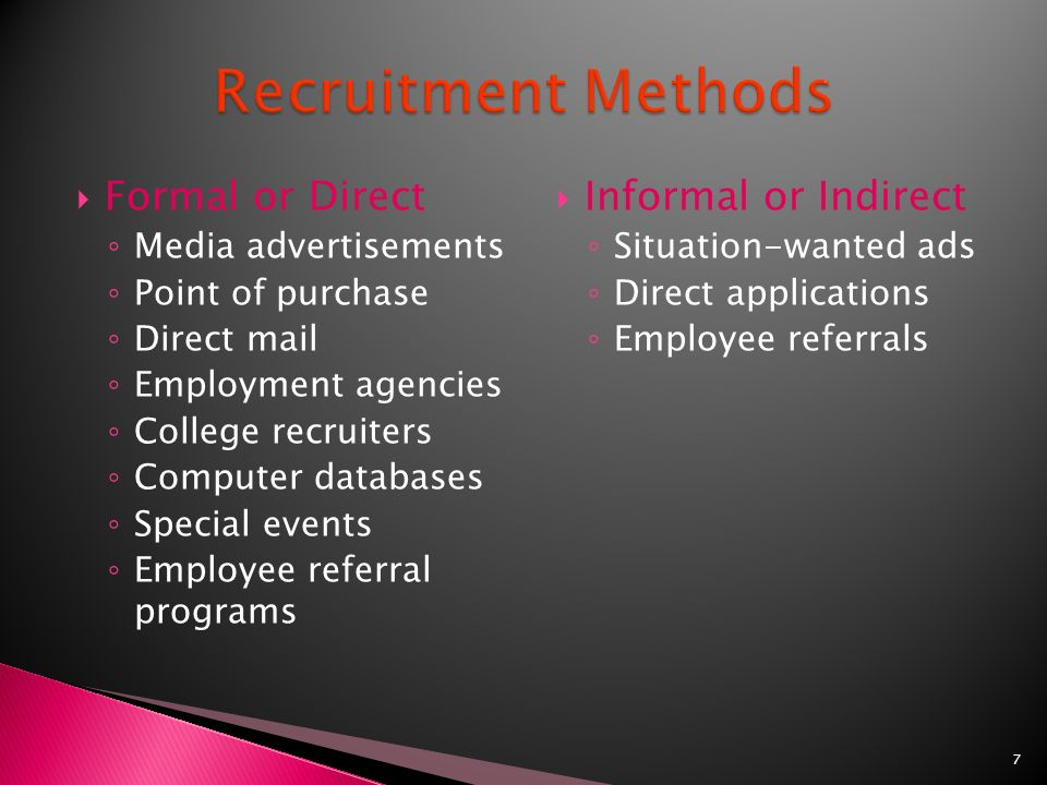 informal methods in recruitment Informal recruitment methods are part of the process of self-selection of motivated workers in nonprofit organisations jel classification: i11, j31 j41, l31, l33, l84.