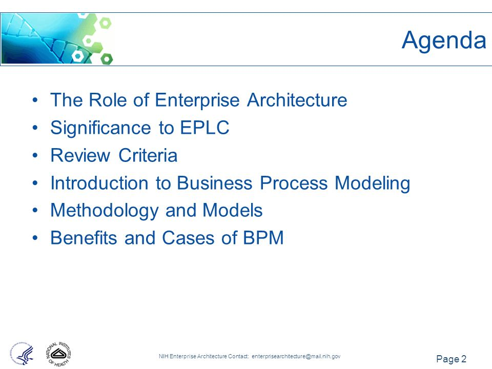 Agenda The Role Of Enterprise Architecture Significance To EPLC