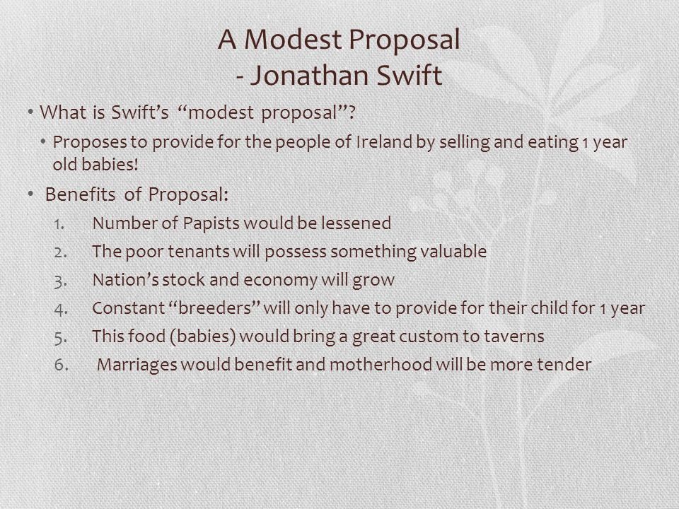 a modest proposal by jonathan swift 2 essay