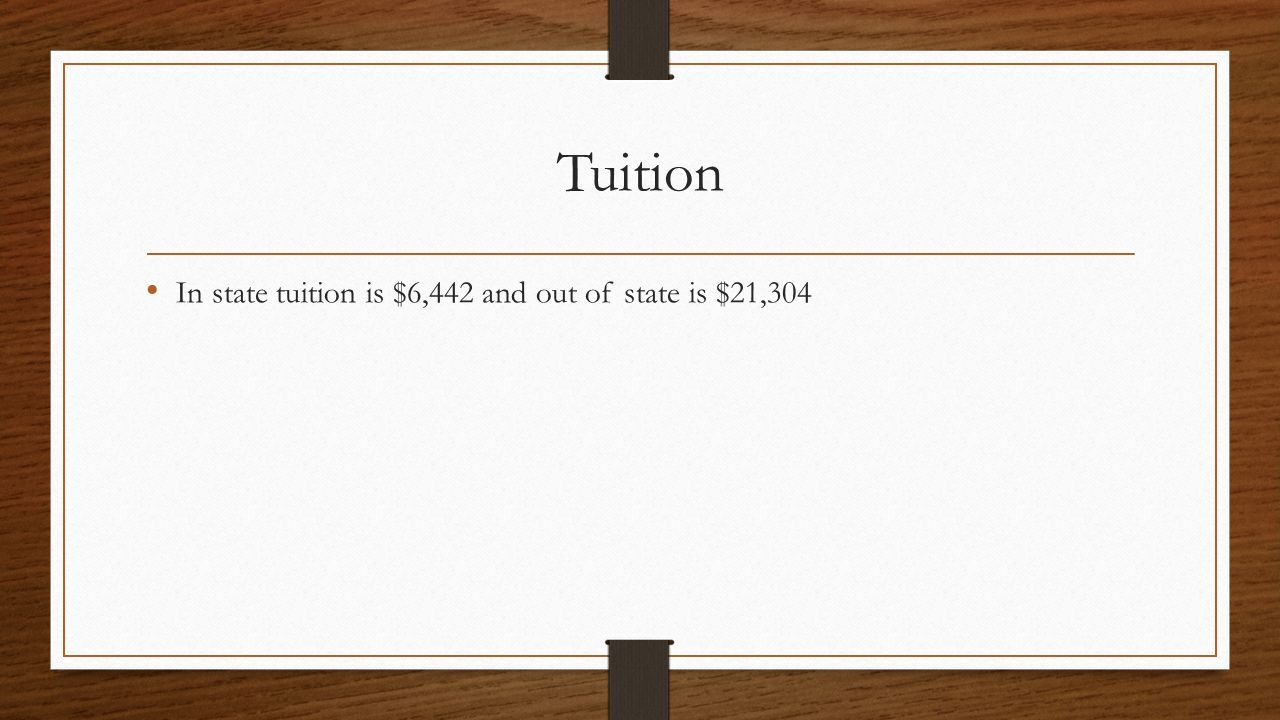Tuition In state tuition is $6,442 and out of state is $21,304