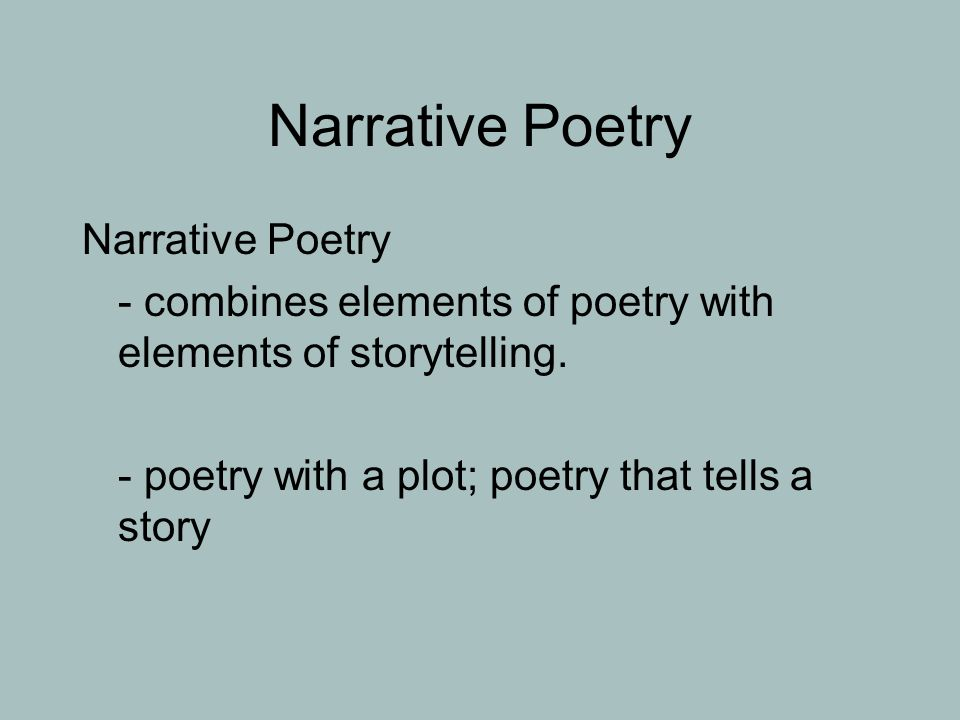 Narrative Poetry Narrative Poetry