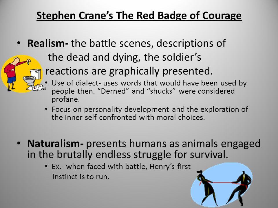 stephen cranes red badge of courage essay Wartime can bring one both physical conflicts on the battlefield, as well as psychological battles in one's own mind stephen cranes the red badge of courage takes the reader into the life of henry fleming, a young new recruit during the civil war.