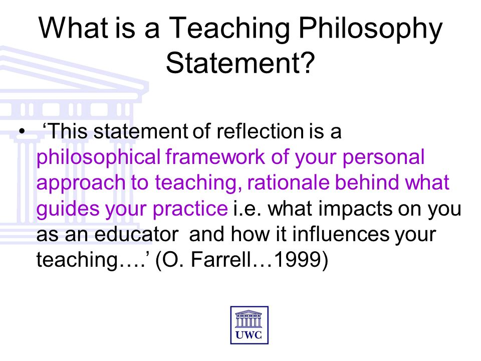 education philosophy and rationale Across higher education institutions world-wide,  second, a teaching philosophy statement is a critical rationale at its centre is a distinctive set of.