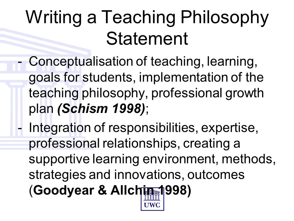 The Teaching Philosophy/Teaching Statement