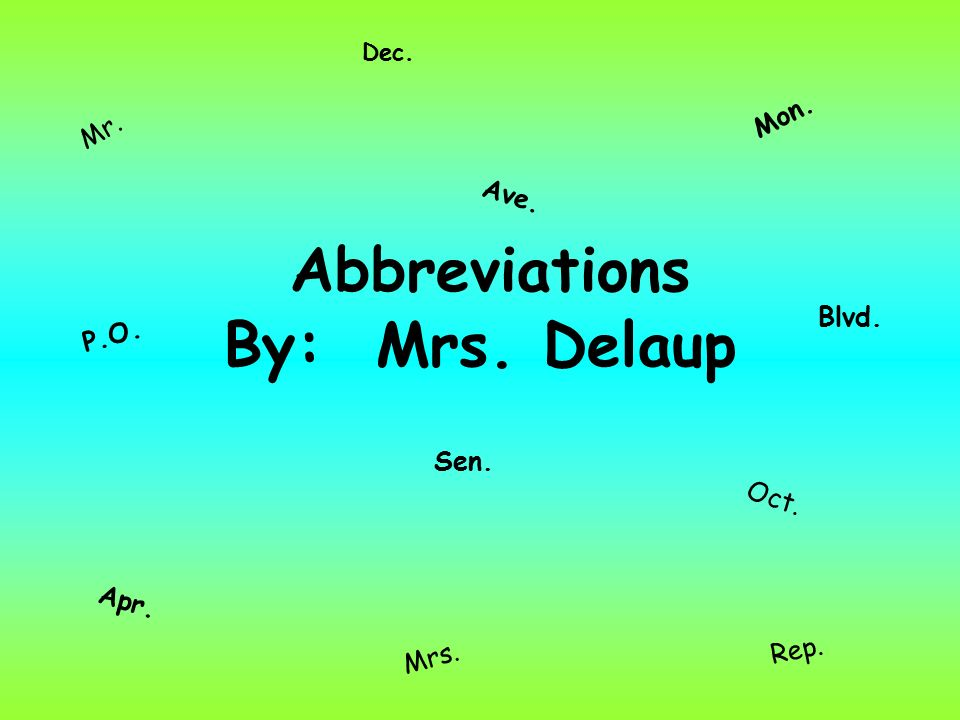 Abbreviations for mrs