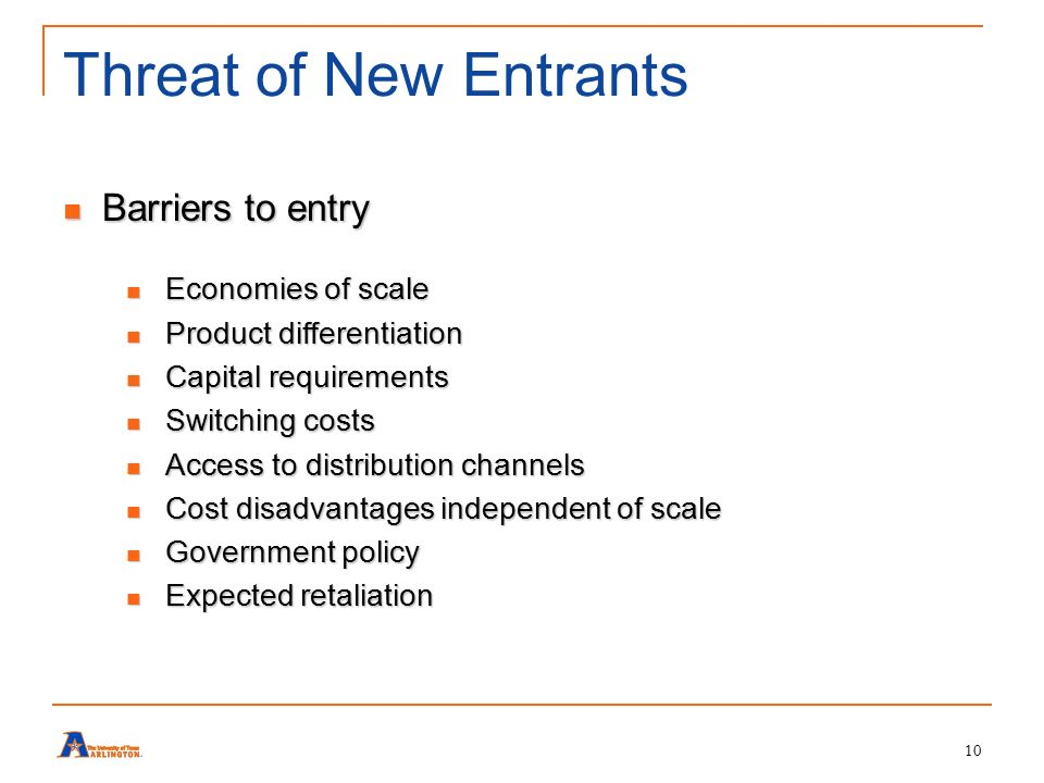 threat of new entrants hotel industry New entrants to an industry can raise the level of competition, thereby reducing its attractiveness the threat of new entrants largely depends on the barriers to entry.