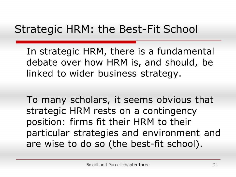 The strategic hrm debate and the