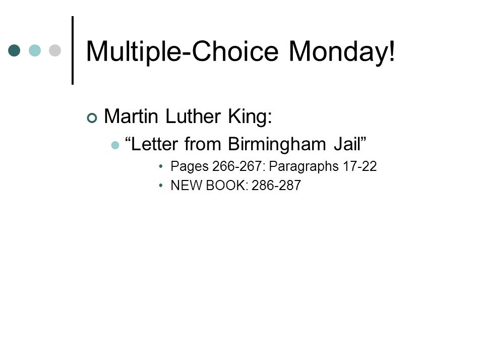 """thesis from letter from birmingham jail 2 thoughts on """"examples of ethos, pathos, and logos in mlk's letter from a birmingham jail."""