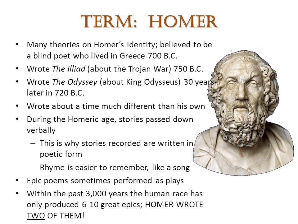 an analysis of the main character in the odyssey an epic poem by homer Homer (/ ˈ h oʊ m ər / greek: ὅμηρος greek pronunciation: [hómɛːros], hómēros) is the legendary author of the iliad and the odyssey, two epic poems that are the central works of ancient greek literature.