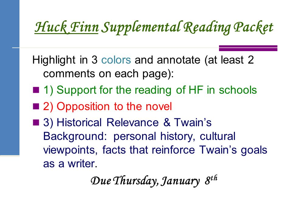 Adventures of huckleberry finn ppt download 3 huck finn supplemental reading packet ccuart Image collections