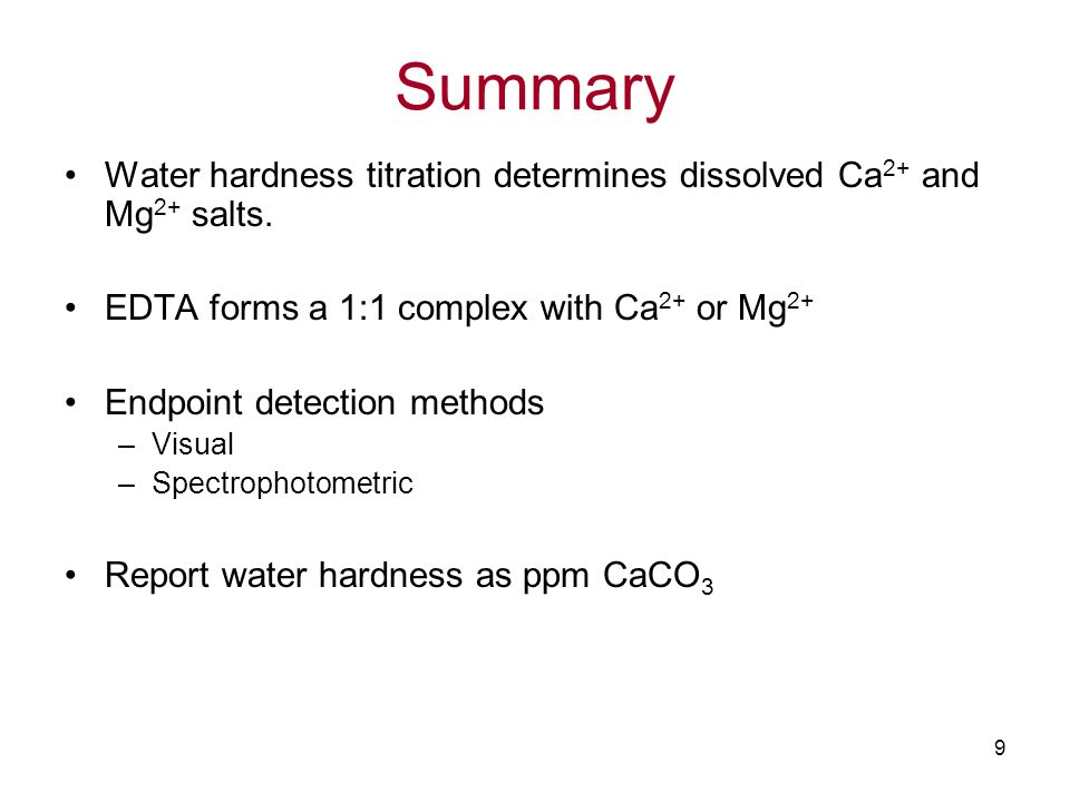 determination of water hardness lab report Chelometric titration : the determination of water hardness and water filtration  things for the lab notebook and to be included in the lab report: 1 write the.