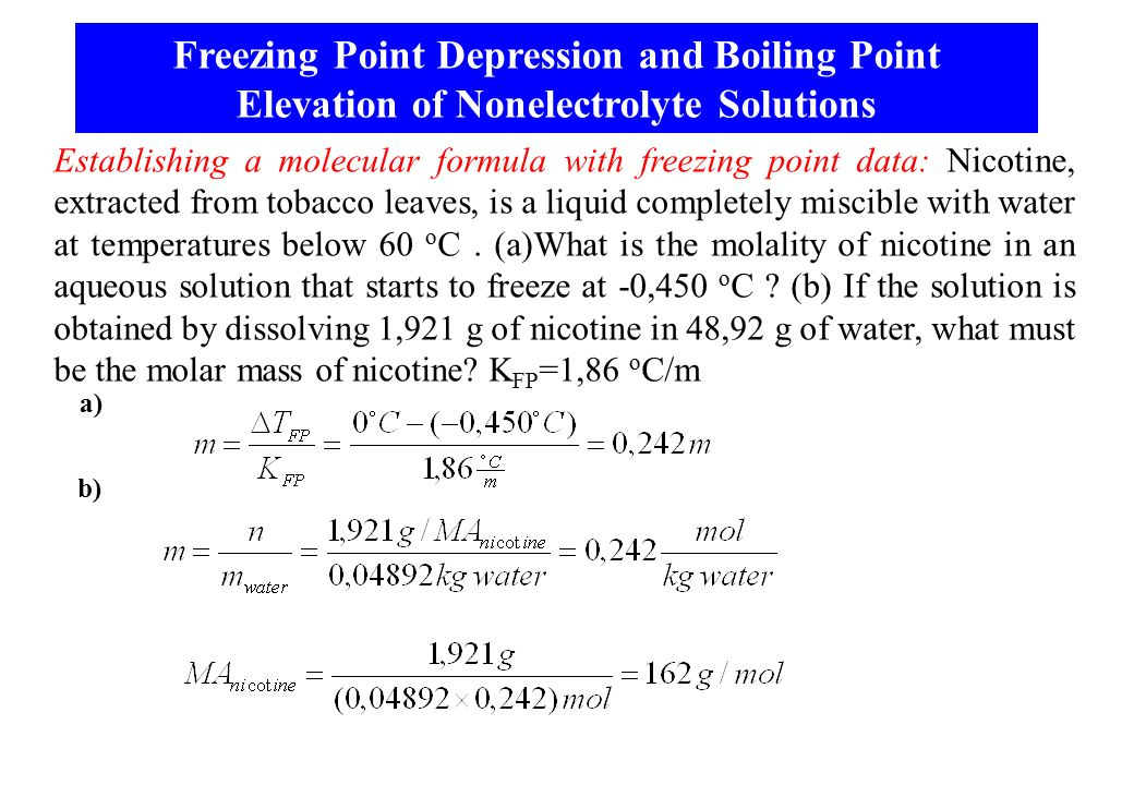 freezing point depression and boiling point How solutes affect solvents, the freezing point depression and boiling point  elevation.