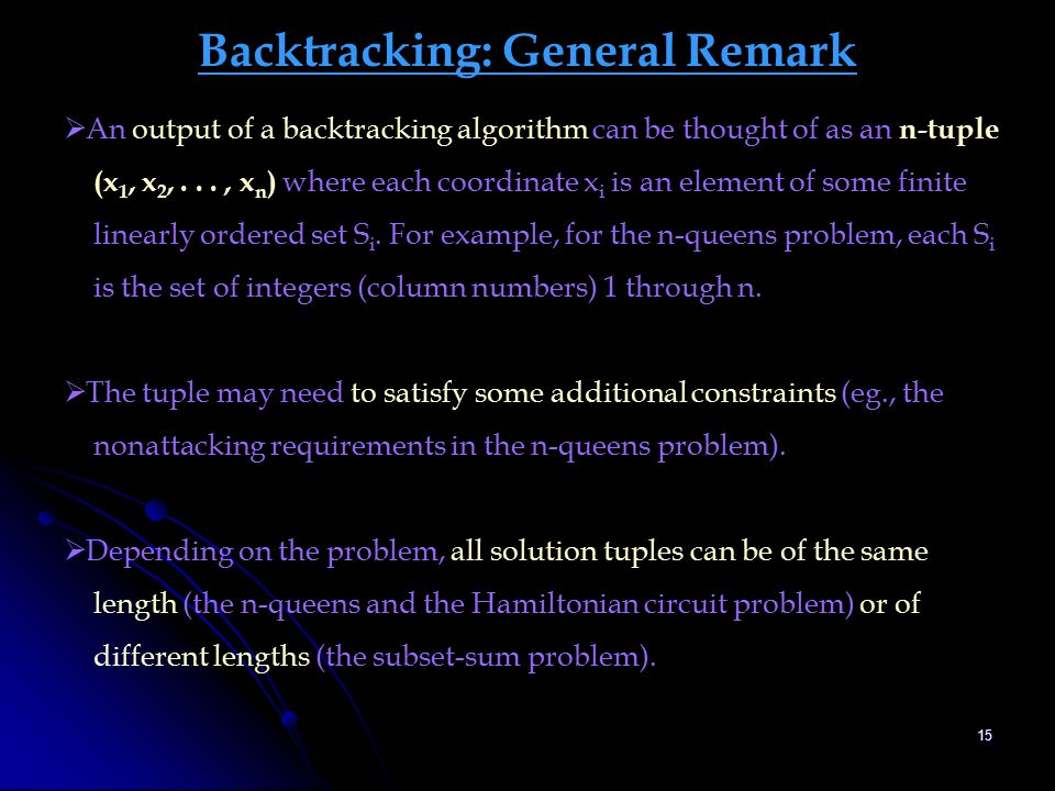 backtracking set and solution space More recursive backtracking  or determine in advance what part of the complete solution space will contain the  set: a solution set that eventually sums to.