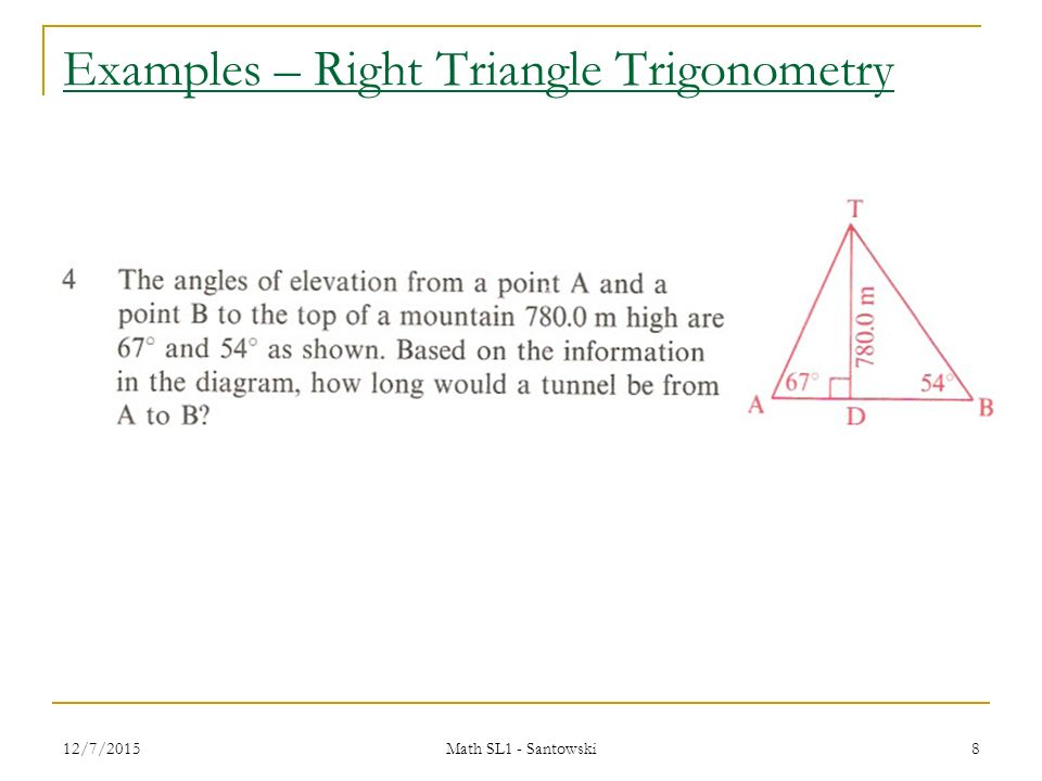 right triangle trigonometry essay One of the basics of trigonometry, the tangent is quite a helpful tool in this lesson, learn how you can use the tangent to find missing sides of triangles and how to find important angles for.